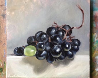 Different  Original oil painting Gift Home decor still life oil painting Wall Art oil painting black grapes Oil Fine ART