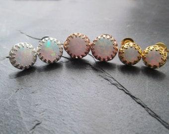 opal stud earrings, opal earrings, opal studs, white opal earrings, white opal studs, white opal jewelry