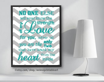 Twins Baby Gifts, Heart From the Inside, Baby Nursery Gift Ideas, Baby Shower, Teal and Gray Chevron, Twins Nursery Wall Art, Boys Girls