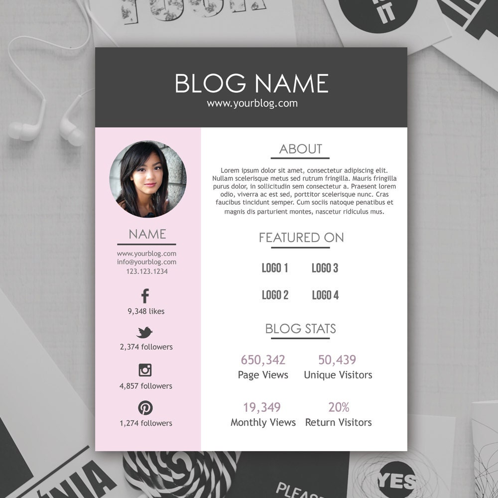 Blogger Media Kit Template Photoshop PSD INSTANT DOWNLOAD