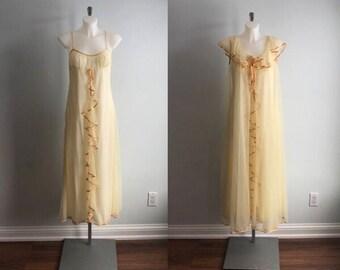 Vintage Claire Haddad Pale Yellow Chiffon Peignoir Set, 1960s Chiffon Peignoir Set, Yellow Peignoir Set, Vintage Peignoir Set, Peignoirs