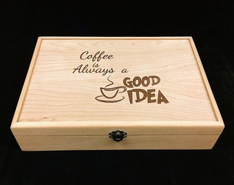 Unfinished Wood Box with Hinges & Latch-13 x 9 x 3-Engraved Kcup display box-Keurig Pod wood box-24 K-Cup compartments