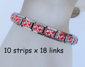 Lot of 10 strips of 18 links 9mm butterfly italian charm bracelets BC26