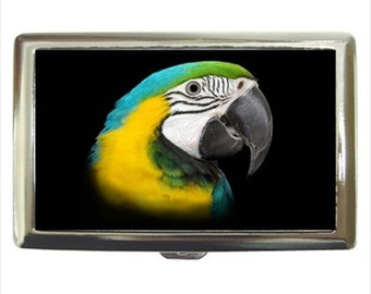 Blue and Gold Macaw Parrot Bird Money Cigarette Case Chrome Holder Wallet