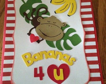 Valentines Day handmade greeting card with envelope featuring a monkey