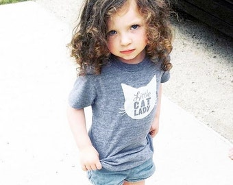 Little Cat Lady Triblend TShirt in Heather Grey with White Print - Infant and Toddler Sizes - Baby Shower Gift, Cat Lover, Cat People