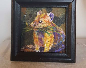 American Pika Framed Fine Art Print from Original Miniature Painting, Giclee Print, Endangered Species series