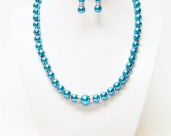 Teal-Turquoise Glass Pearl Necklace/Bracelet/Earrings