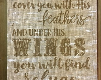 Psalm 91:4 Burlap Sign