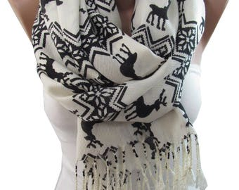 Deer Scarf Nordic Scarf Snowflake Winter Scarf Clothing Gift Travel Gift Christmas Gift For Her Gift For Women Mothers Day Gift For Mom