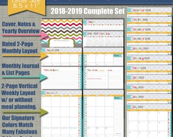 """NEW! 2018-2019 Printable Planner - Signature Design with Vertical Weekly Layout - Calendar Year - Sized Large 8.5"""" x 11"""" PDF"""