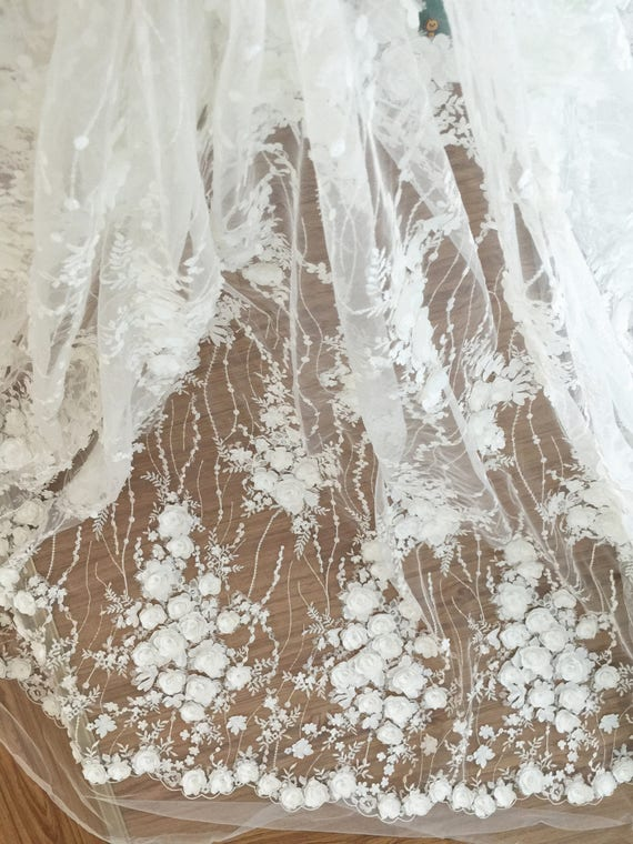 Exquisite Sequined 3D Lace Fabric with Shabby Chic Rosette