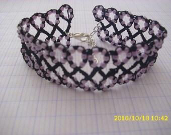 Black and purple tatting /dentelle bracelet
