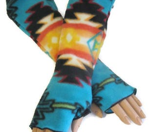 Native American Style Arm Warmers Fingerless Gloves Fleece Wrist Hand Warmers Gift For Her Handmade Harry Potter Christmas Hanukkah