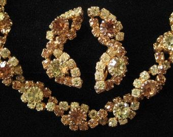 Yellow and Topaz Rhinestone Bracelet and Earring Demi