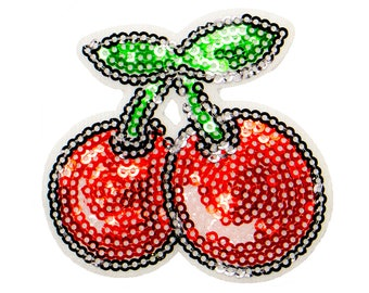 Free Shipping! Cherry Embroidered Iron-On Patch, Embroidery Applique