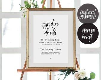 Signature Drink Sign INSTANT DOWNLOAD Editable PDF, Signature Drinks Printable, Wedding Reception Sign, Wedding Bar Sign - Juliette