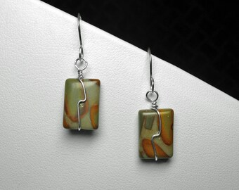 Picture Jasper Earrings in Silver