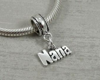 Nana Dangle Bead Charm - Sterling Nana Charm for European Bracelet
