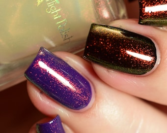 Phoenix Duochrome Color Shifting Top Coat Shimmer Red to Green Indie Nail Lacquer Starlight and Sparkles Polish Unicorn Pee