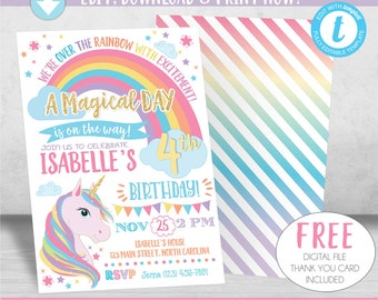 Unicorn Birthday Invitation, Unicorn Invitation, Rainbow Invitation, Magical Invitation, Rainbow Birthday Invite Printable, Unicorn Party