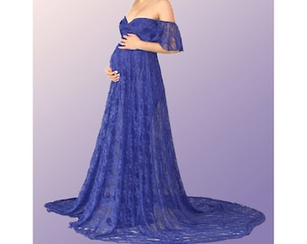 Maternity Dress for Photo Shoot-Lace Maternity Gown for Photo Shoot-Maternity Photo Prop-Blue Maternity Dress for Baby Shower-MIA