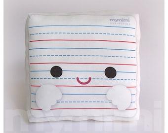 "Back To School, Elementary School, Lined Paper Pillow, Office Decor, Desk Decor, Decorative Pillow, White Pillow, Throw Pillow, 7 x 7"""