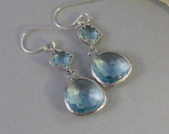 Clearwater,Aquamarine, Earring,Silver EarringsTeal,Aqua,March Birthstone,Wedding,Bride,Crystal. Handmade jewelery by valleygirldesigns.