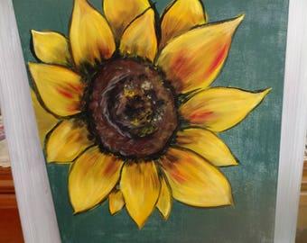 Sunflower painting,sunflower decor,autumnal decor,sunflower art,hand painted sunflower