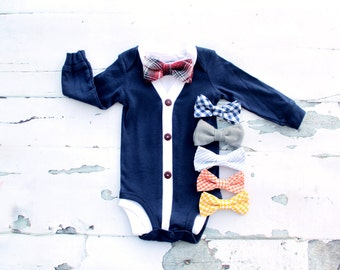 Easter Spring NEW Baby Boy Cardigan and Bow Tie Set. Trendy Baby Boy, Cardigan Sweater Bodysuit. 1st Birthday Outfit. Coming Home Outfit