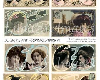 ART NOUVEAU LADIES digital collage sheet, Vintage photos French postcards Victorian actresses showgirls Women, altered art ephemera Download