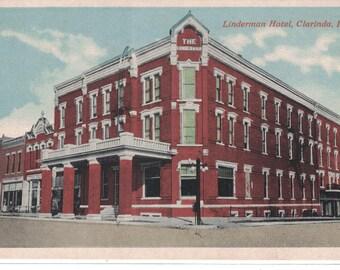 """Iowa, Vintage Postcard, """"Linderman Hotel, Clarinda, Iowa,"""" 1910s, #1244."""