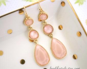 Blush Rose Pink Drop Earrings, Bridal Blush Earrings, Bridesmaid Earrings,  Blush Rose Pink Earrings, Tear Drop Earrings-2046