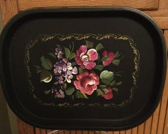 Pretty black painted tole metal tray
