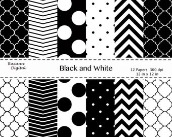 Chevron, Quatrefoil, Polka Dots in Black and White, Commercial or Personal Use.  Instant Download.