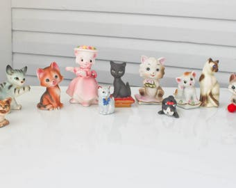 Vintage Lot of Kitty Cat Kitten Figurines-Sugar Coated-Spaghetti-Shaker-Japan-Brinn's-Hugging-Striped-Rhinestone-Yarn ball-Bow tie-Whisker