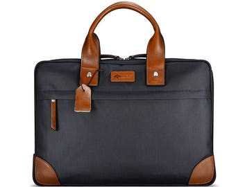 Business Commuter Bag - Slim Briefcase with Premium Fabric and Genuine Leather | Blue