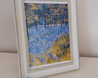 Bluebells, woodland, print, a4 ,