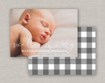 Mason Birth Announcement Template #20 for Photoshop: Instant Download