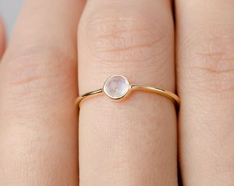 Dainty Moonstone Ring, Sterling Silver. Yellow Gold Vermeil, Dainty Minimalist Ring, Hand Made Jewelry, Birthstone Gift, Lunai, RNG036MOO