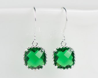 May Birthstone Emerald Silver Earrings, Emerald Silver Square Earrings, Silver Earrings, May Birthday Gift, Bridal Earrings