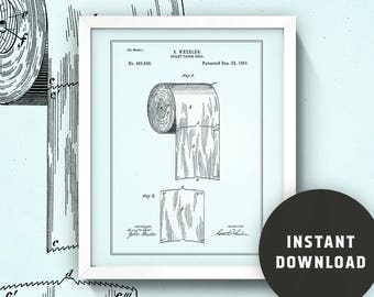 Toilet Paper Patent Print (Seafoam) • 8x10 Bathroom Wall Art • Instant Digital Download!