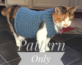 Cat Clothes Pattern, Cat Sweater Pattern, Crochet Pattern, Pet Clothes Pattern, Cat Coat Pattern, Crochet Cat Sweater, Sweater for Cat