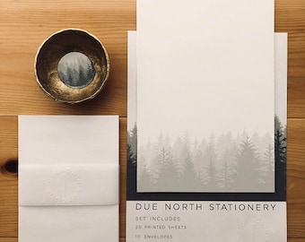 Due North Stationery Set, Letter Writing Set, Letter Writing Sheets, Set of 20, Stationery Gift Set, Made in Alaska, Into the Wo