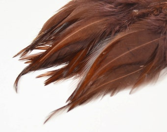 Rooster Saddle Feathers - Brown, 2 inch strip (50-60pcs)
