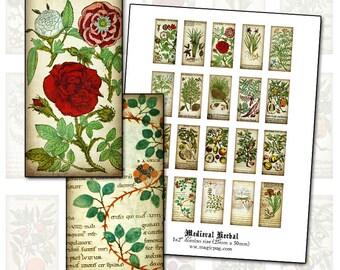 "Medieval Herbal 1x2"" domino digital collage sheet 25mm x 50mm"