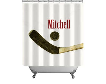 Hockey Shower Curtain-Personalized Shower Curtain-Custom Hockey Bath Decor-Boys Bath Decor-Sports Bathroom-Hockey Decor-Girls Bathroom Decor