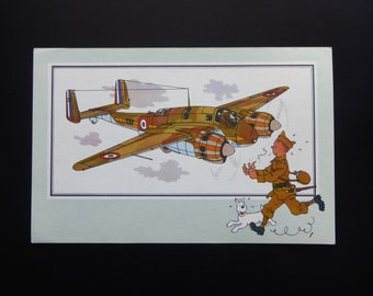 Tintin. Chromo Tintin. See and know. Aviation. War 1939-1945. Series 1. NO. 15. Breguet 691. 1938 France.