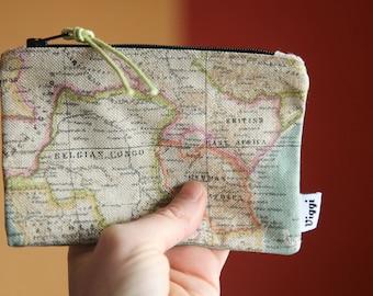 Wanderlust Coin Purse / Travel Wallet / Women and Men Card Holder / Small Purse / World Map Wallet