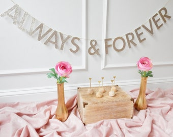 Wedding Banner - Bridal Shower Banner - Always & Forever - Wedding Decor - Wedding Sign
